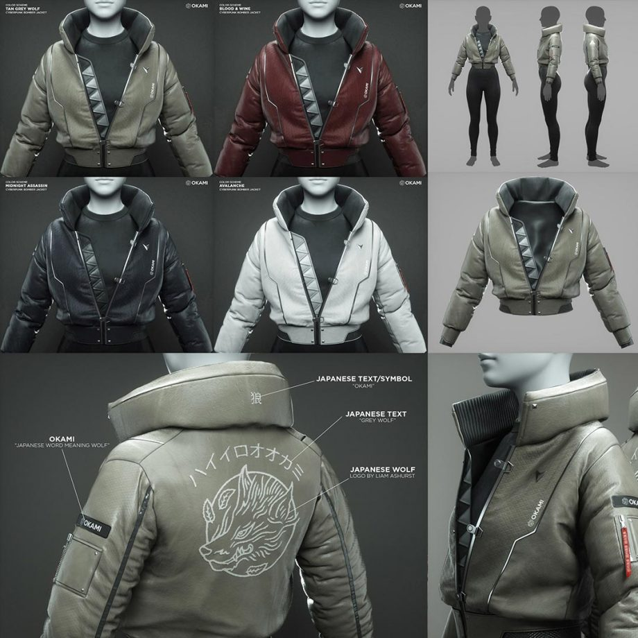 Cyberpunk Bomber Jacket - 3D Fashion Design Course download