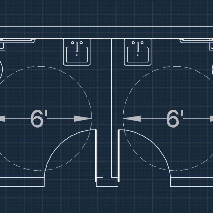 Photo of Drawing an Accessible Restroom Layout in AutoCAD