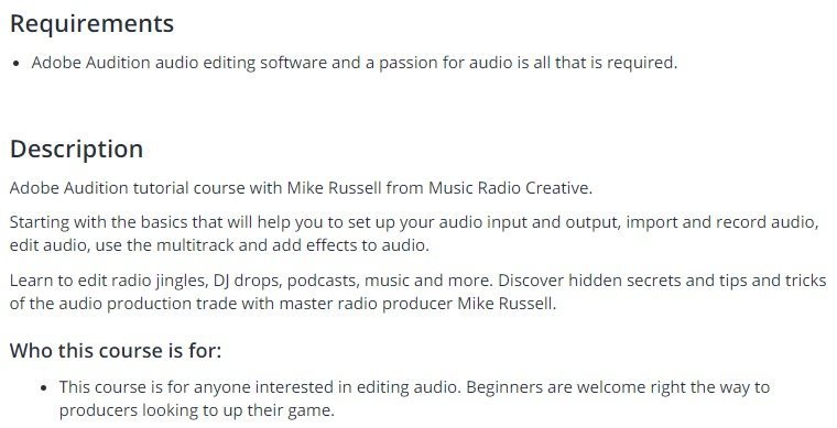 Adobe Audition CC Audio Production Course Basics to Expert Learn Adobe Audition audio editing tips, tricks and audio production secrets with Mike Russell in a complete A-Z course.