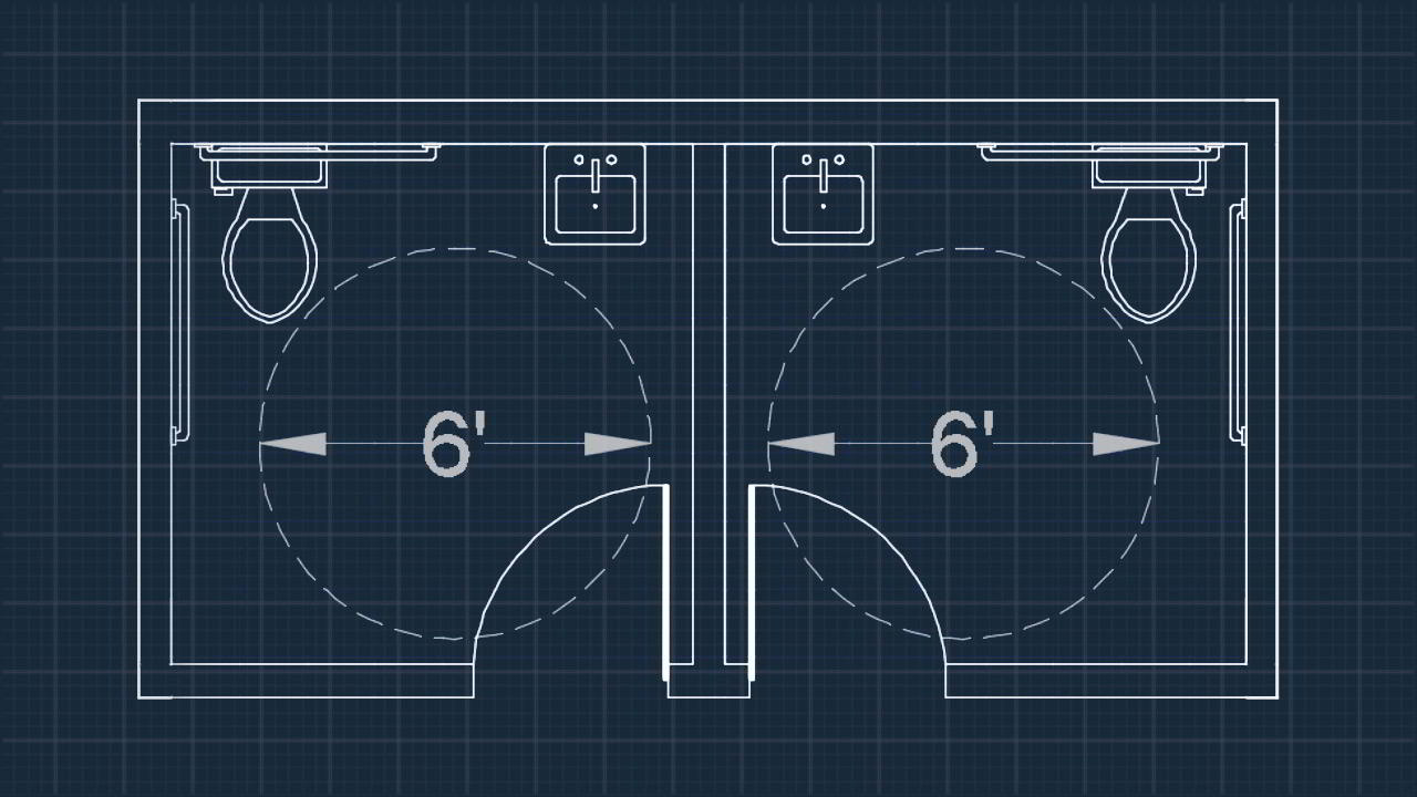 Drawing an Accessible Restroom Layout in AutoCAD free download