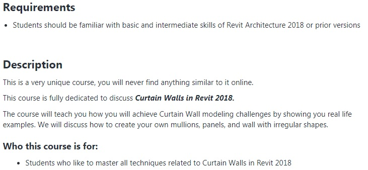 Covering advanced features of Revit Architecture 2018