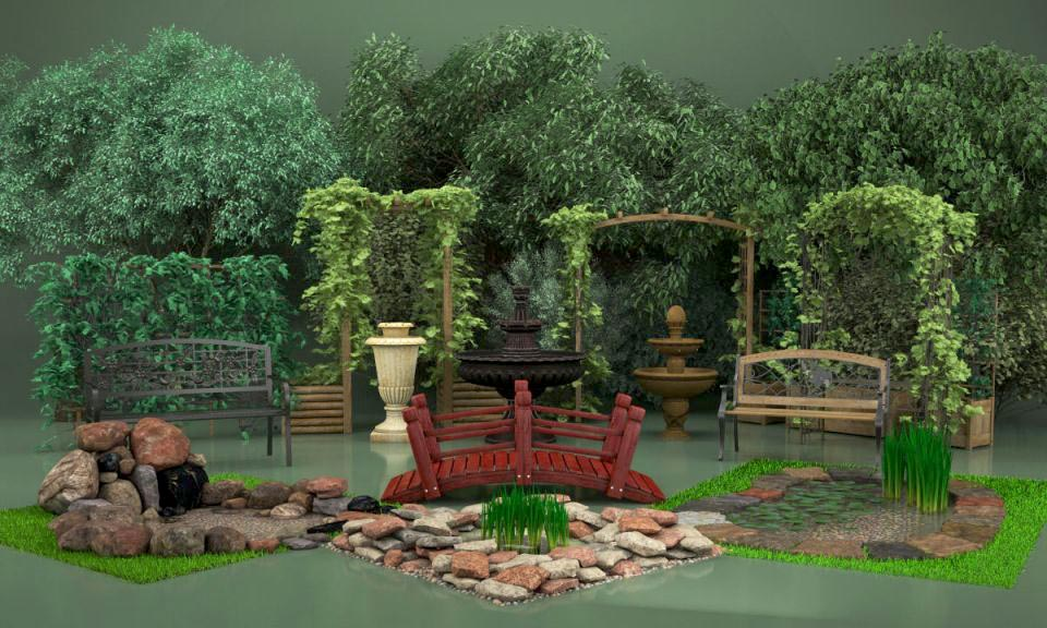 Evermotion – Archmodels vol. 105 : garden elements free download