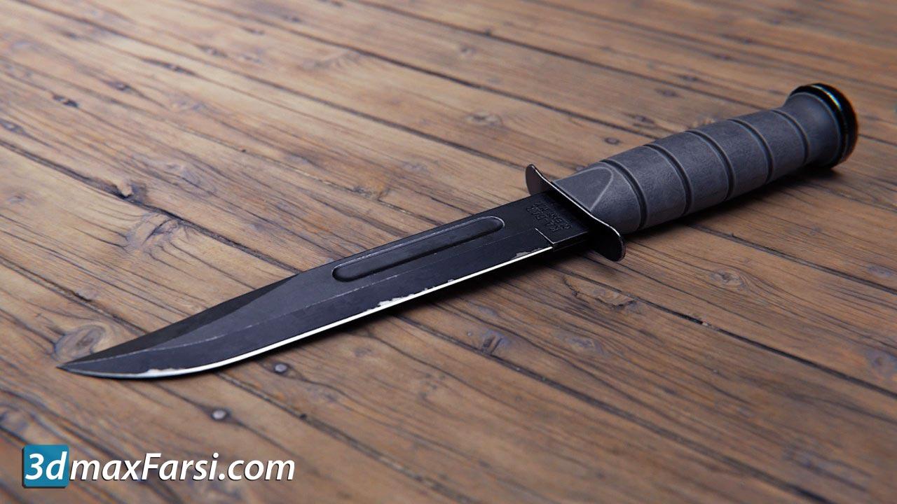 Combat Knife 3D Game Asset in Blender and Substance Painter free download