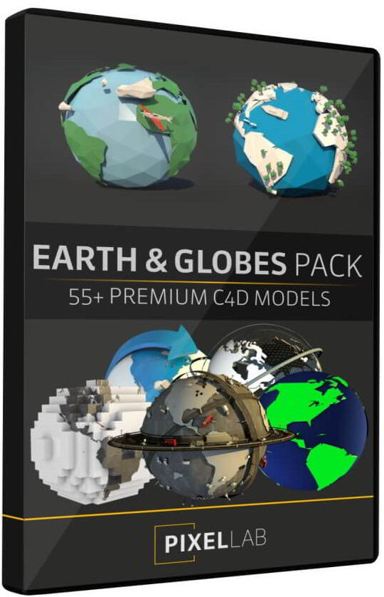 The Pixel Lab – Earth and Globe Pack: 50+ C4D Models free download
