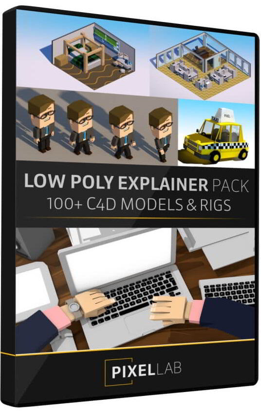 The Pixel Lab – C4D Low Poly Explainer Pack free download