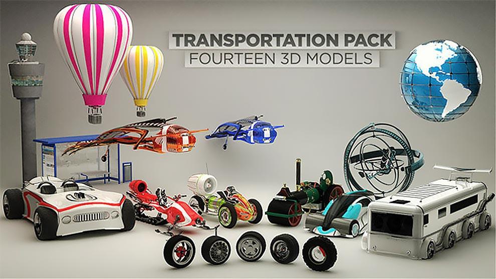 The Pixel Lab – Transportation Pack for Cinema 4D free download