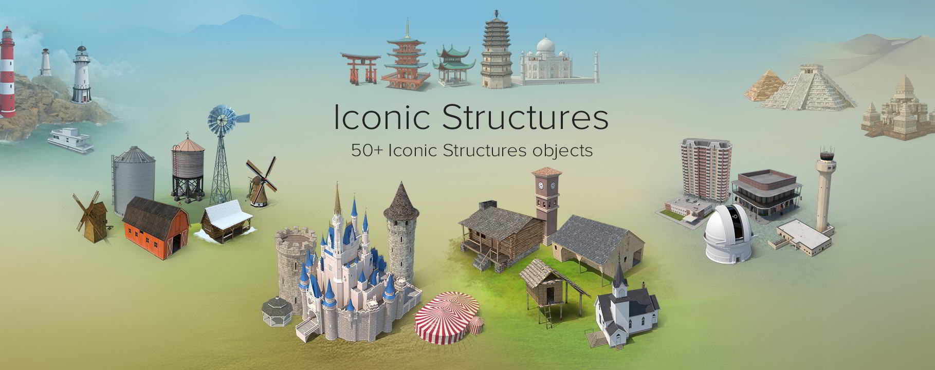 PixelSquid – Iconic Structures Collection free download
