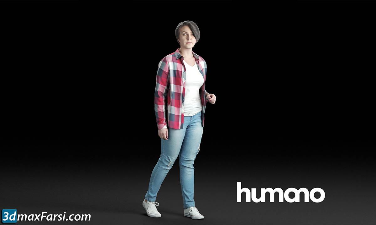 Humano Casual woman in checkered shirt Walking and talking 0214 free download