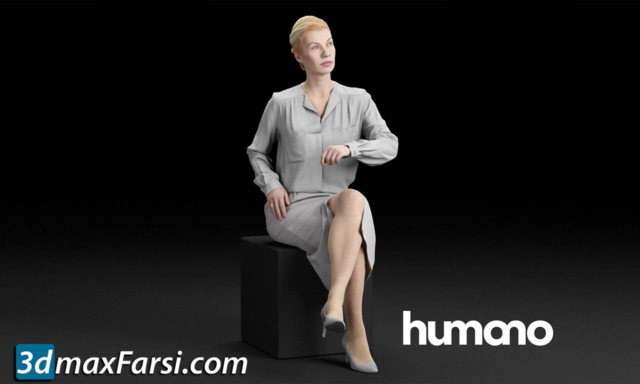 Humano Elegant business woman in skirt sitting and looking 0113 free download