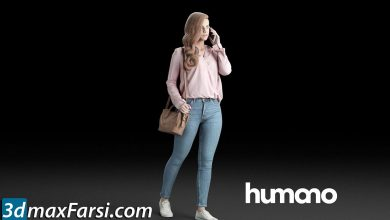 Humano Elegant Casual woman walking with a bag and phone free download