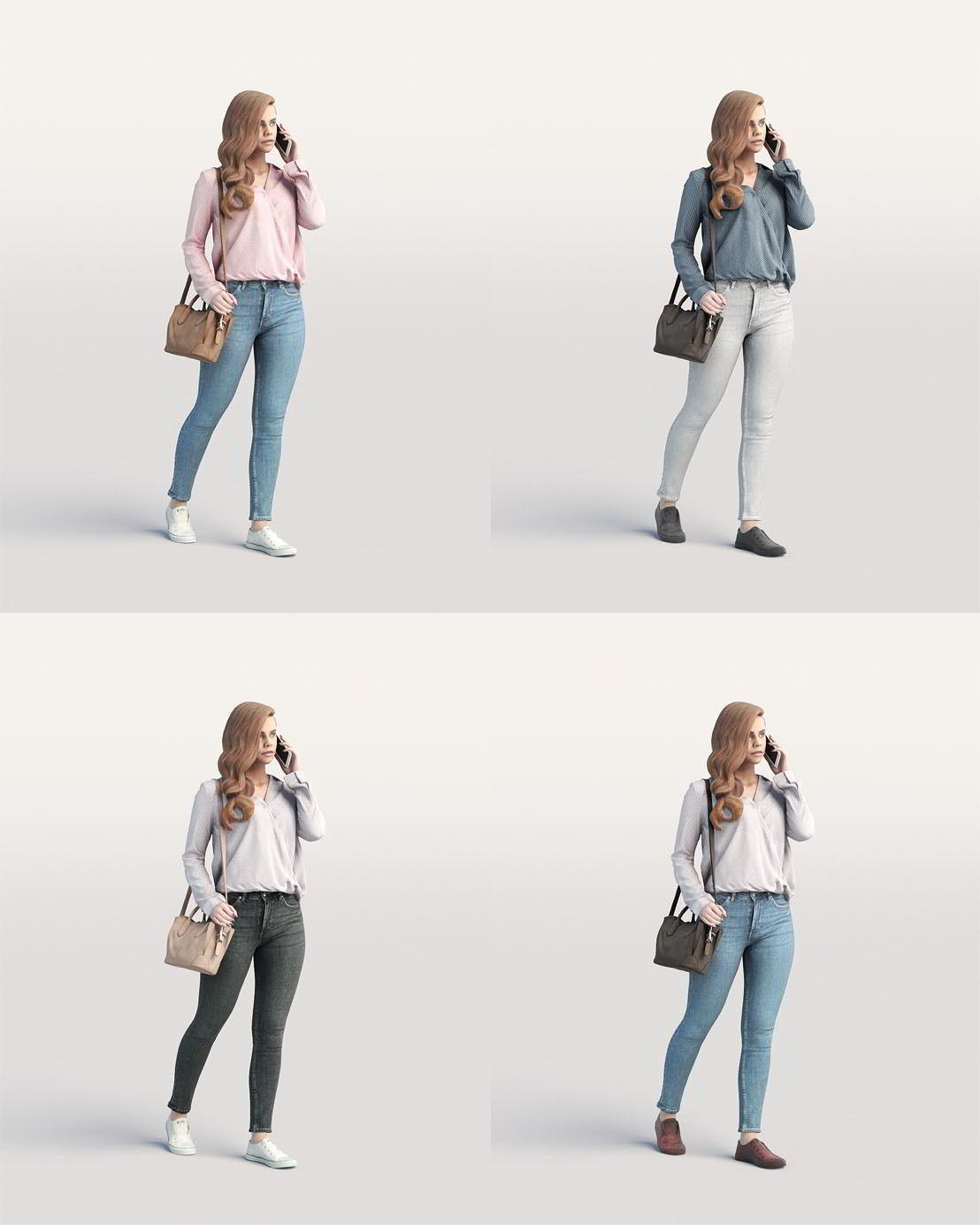 Humano Elegant Casual woman walking with a bag and phone