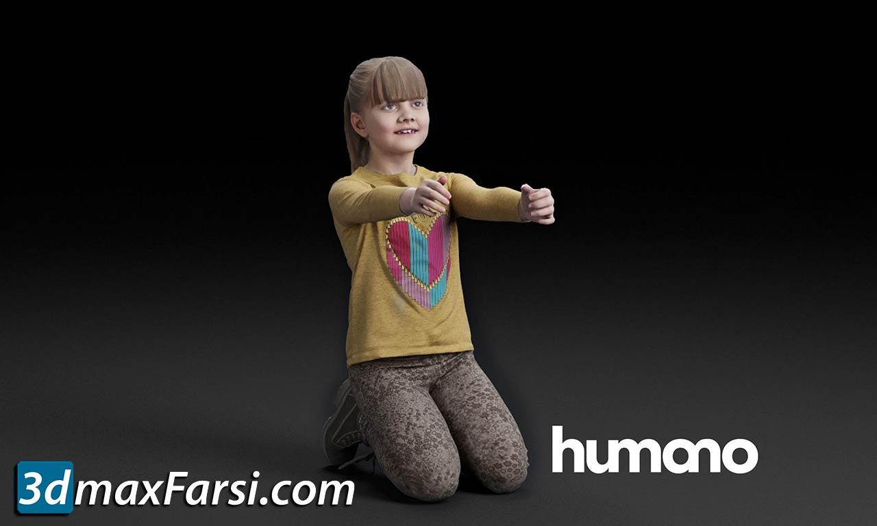 Humano Kneeling girl with outstretched arms 0510 free download