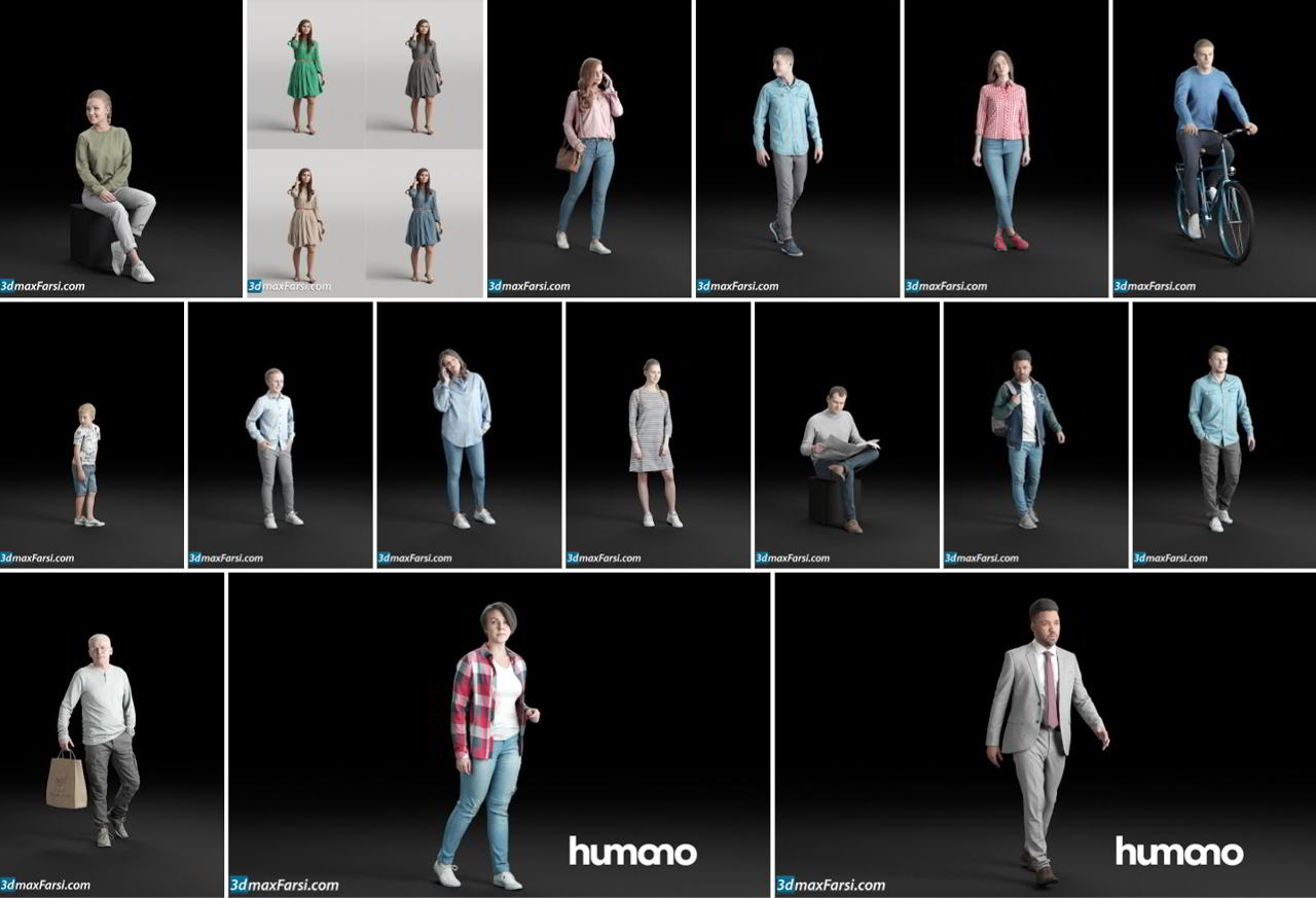 Humano3d People – 56 Models free download