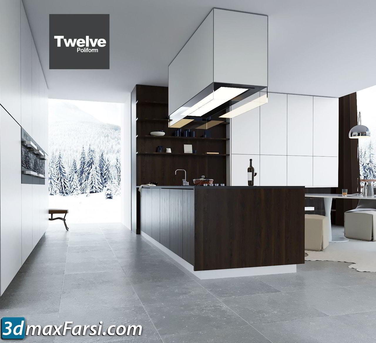 Kitchen Poliform Varenna Twelve vray corona 3ds max