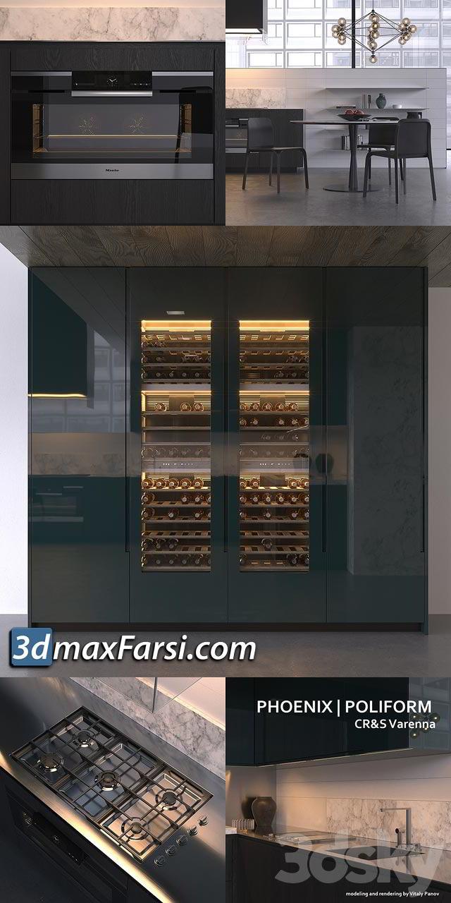 Minimalistic kitchen Poliform Varenna Phoenix free vray 3ds max