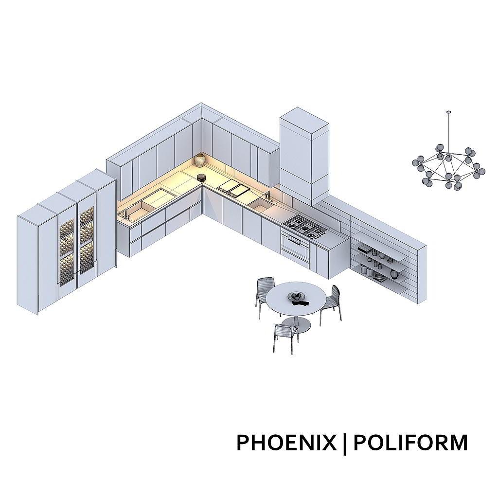 Minimalistic kitchen Poliform Varenna Phoenix 3ds Max 2012 (Vray), obj