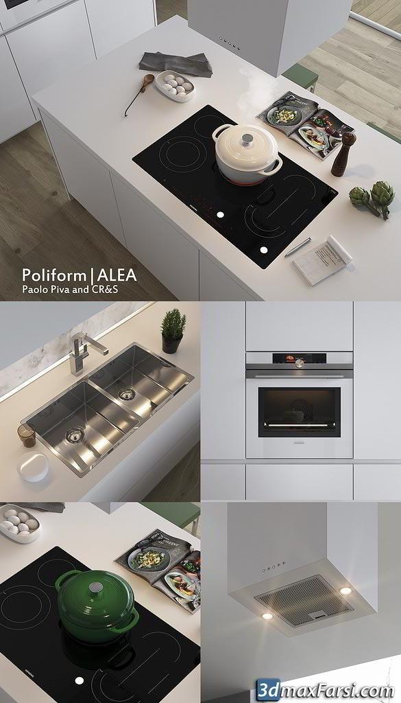 Modern kitchen Poliform Varenna Alea 3ds Max (Vray, Corona), obj