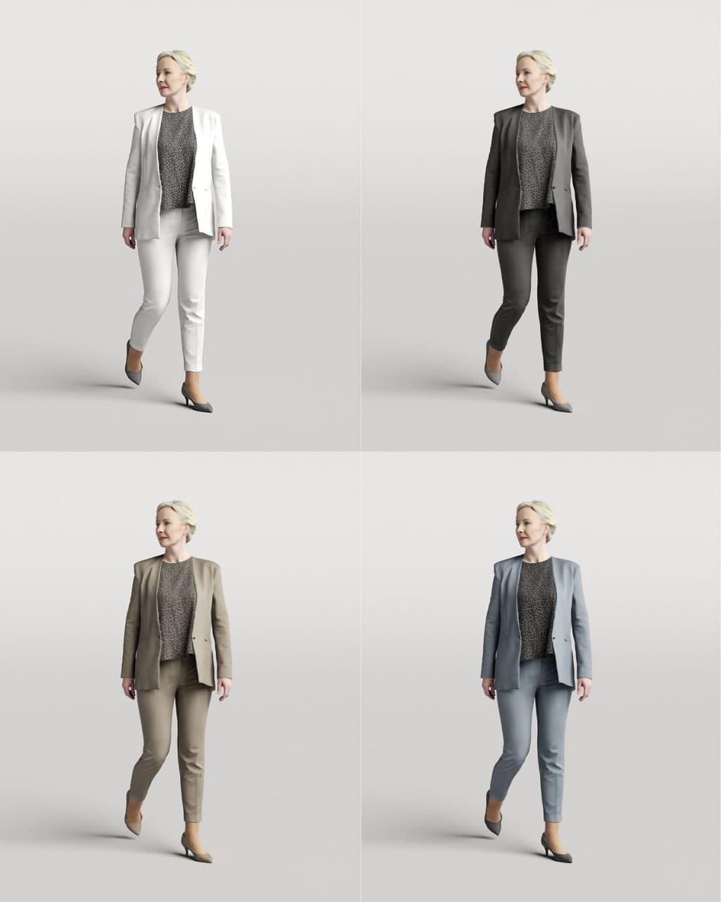 Humano Elegant woman walking and looking back 0306 3D model