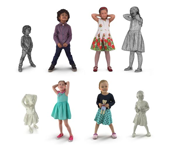 Child Collection x4 VR AR low-poly 3d model free download