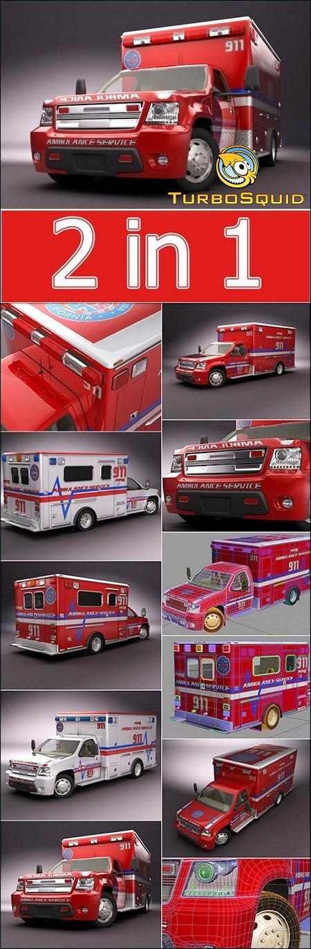 Turbosquid 3D Model Emergency Ambulance Truck 2in1 free download