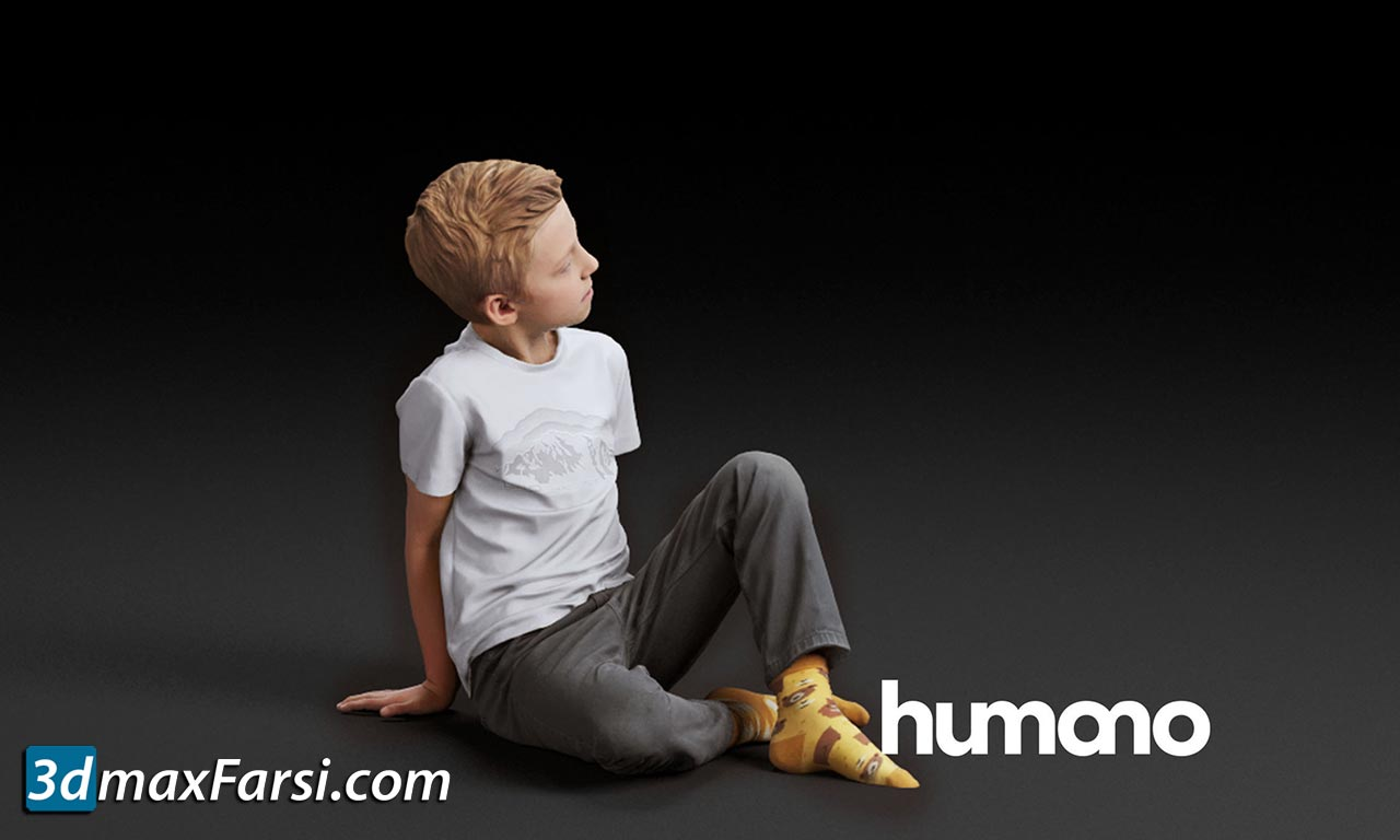 Humano Boy sitting and looking 0507 3D model free download