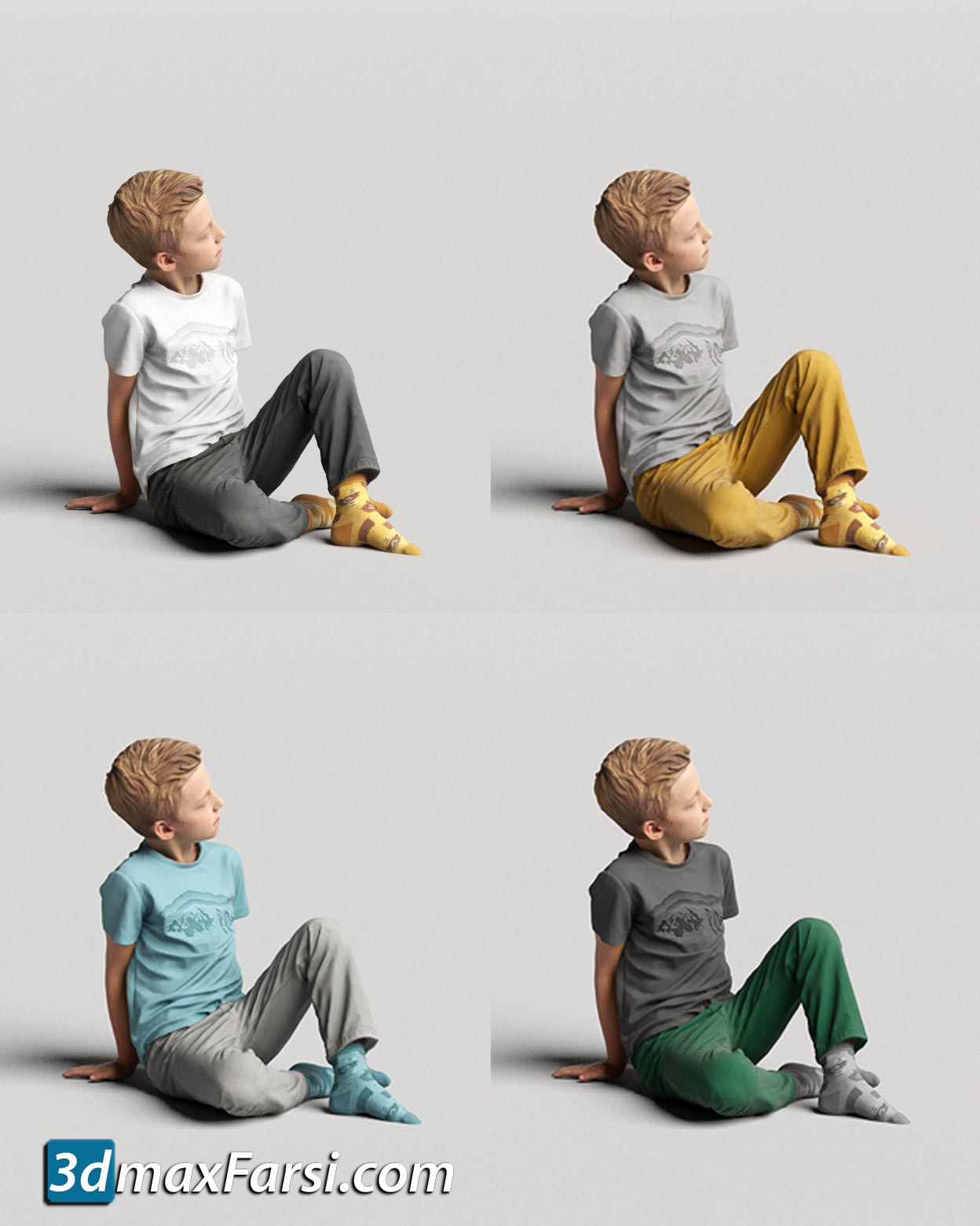 Boy sitting and looking 0507 3D model