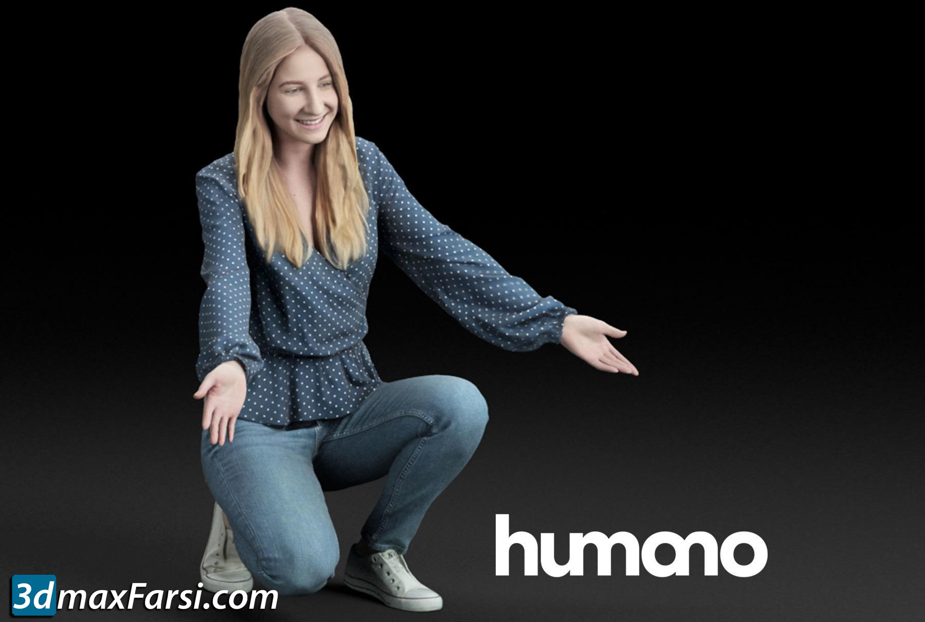 Humano Casual woman in a blue blouse squat and welcoming 0206 3D model free download