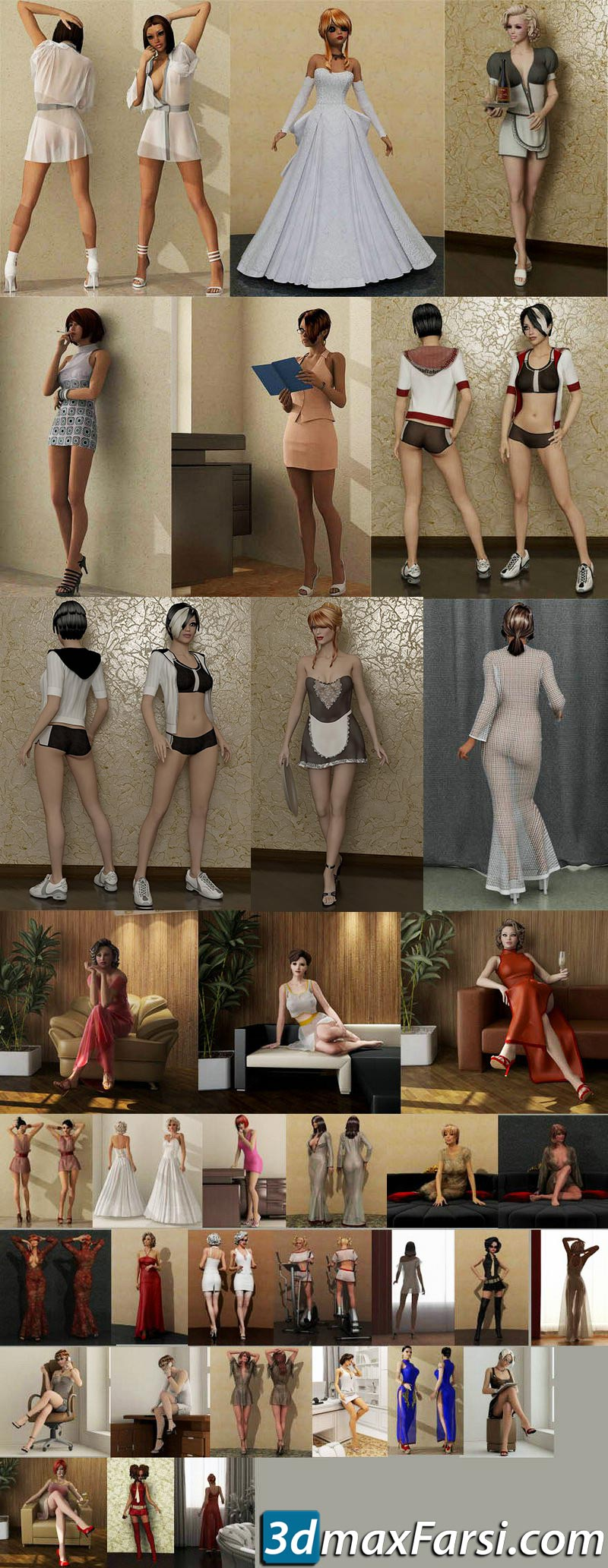 Sexy Lady Models Collections 1 & 2 3ds max vray