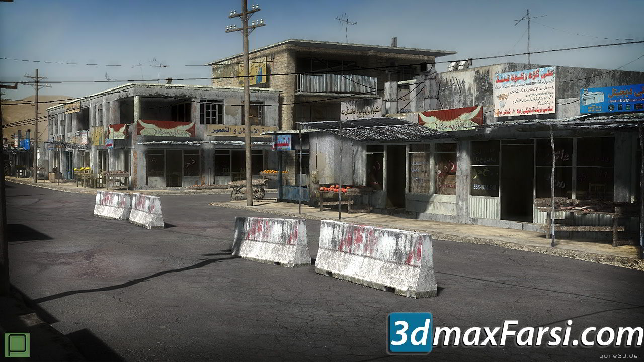 CGTrader – 25 Afghanistan City Buildings Props for Games Low-poly 3D Model free download