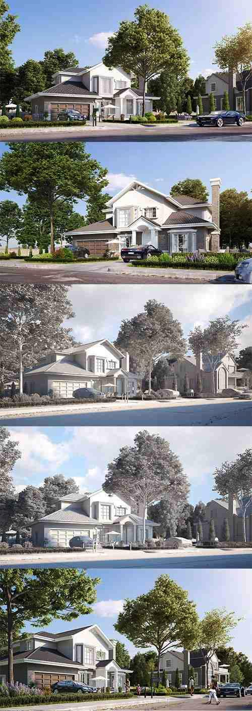 Cgtrader – Exterior beautiful house best rendering Low-poly 3D model